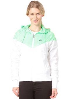 NIKE SPORTSWEAR Womens The Windrunner Jacket white/poison green/squadron blue #planetsports