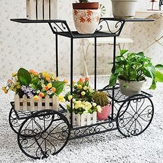 Decorative Scrollwork & Leaf Design 2 Tier Black Metal Storage Rack Shelf / Freestanding Display Stand