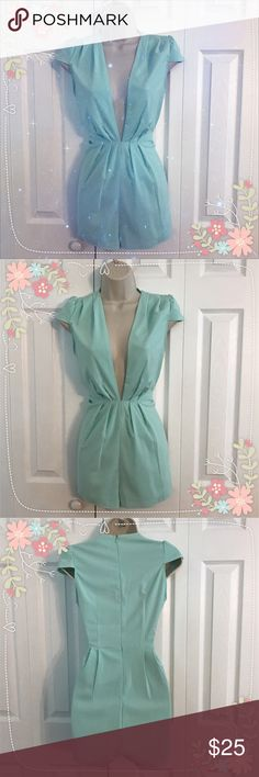 Tobi Gabrielle Romper -Mint NWOT Tobi Deep V Neck Romper. Very sexy. Zipper in the back. Color Mint. Size Small. Smoke free pet free home! ❌Trades Tobi Pants Jumpsuits & Rompers