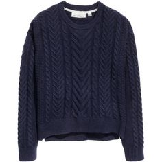 H&M Cable-knit wool-blend jumper ($46) ❤ liked on Polyvore featuring tops, sweaters, dark blue marl, blue top, marled sweater, h&m jumper, long sleeve cable knit sweater and h&m sweater