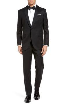 black tux groom wedding classic Ted Baker London Josh Trim Fit Wool & Mohair Tuxedo
