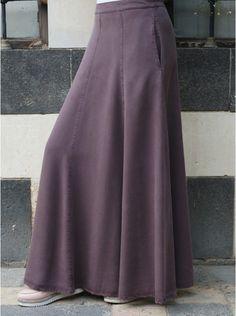 Elasticized Rear Waist Maxi Skirt