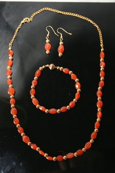 Carnelian and Gold Necklace Bracelet and by TrinketsbyTeri on Etsy, $30.00
