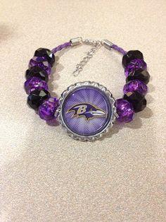 "Baltimore Ravens Football Inspired Beaded Purple Leather Adjustable Bracelet w Ravens Bird with Swirl Background 7 1/2""-9"" on Etsy, $20.00"