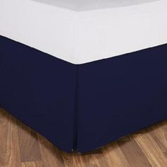 """""""Twin XL Bed Skirt   Available in Any Drop Length"""" #bedskirttwinxl #anydroplength #bedskirt Twin Xl Bedding, Blue Bedding, Cotton Bedding, White Bed Skirt, Navy Blue Color, Color Effect, Queen, All Modern, Sheet Sets"""