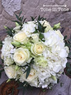 WHITE bouquets <tone in tone> White Bouquets, Floral Design, Bridal, Create, Floral Patterns, Brides, Bride, Wedding Dress, Bridesmaids