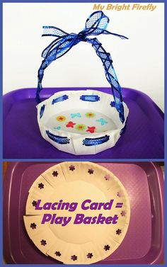 Lacing Card - Play Basket. Paper Plate Craft for Preschoolers. Attention skills practice, learning and creating patterns.