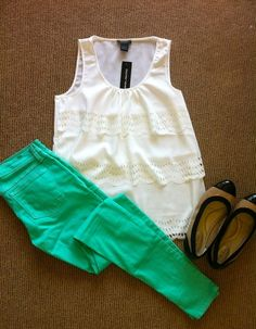 great casual outfit. I love everything about this-- adorable cream lace top, bright mint, nude flats to tie in.