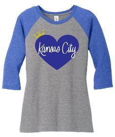 Heart Kansas City Womens Raglan by WearItsATdesigns4 on Etsy