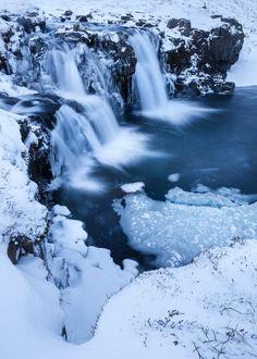 Waterfalls at Kirkjufell - These waterfalls are part of the waterfalls at the mountain Kirkjufell in Grundarfjordur