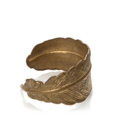 This lovely feather ring is made from a single piece of stamped brass and is available in sizes 5-8. It is slightly adjustable about one size up or down.