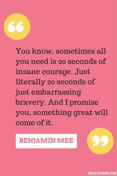 Love this quote from a surprising family movie night pick! All you need is 20 seconds of INSANE courage.