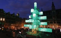 A steel installation, replacing the traditional Christmas tree, is illuminated at Brussels's Grand Place. The more-than-80-foot-high sculpture was designed by French architects Pier Schneider and Francois Wunschel.