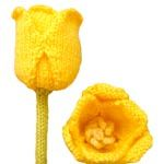 Free knitting patterns for Daisies, Pansies, Roses, Tulips and a bouquet.