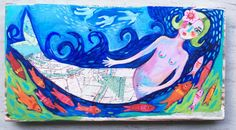 Hey, I found this really awesome Etsy listing at https://www.etsy.com/listing/399846889/mermaid-mixed-media-painting-on-wood