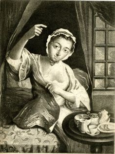 Morning; a young woman shown three-quarters length sitting to right on the edge of her curtained bed, at her breakfast table, lifting her right arm as as she draws her dressing-gown across her with the other hand and looking towards the viewer; a window in the background; from a set of the times of day; after Mercier; proof before letters.  Mezzotint with some etching