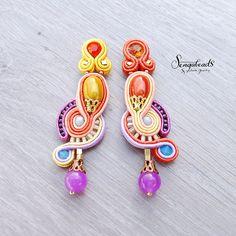 Colorful boho soutache earrings. Soutache jewelry. by Sengabeads
