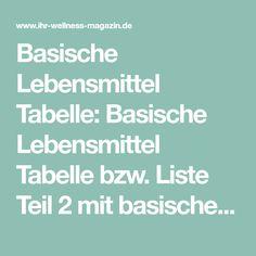 Basische Lebensmittel Tabelle: Basische Lebensmittel Tabelle bzw. Liste Teil 2 mit basischen Lebensmitteln für die Basenfastenzeit von Sabine und Andreas Wacker ...