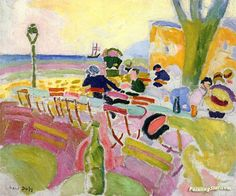 The Terrace on the Beach Artwork by Raoul Dufy Hand-painted and Art Prints on canvas for sale,you can custom the size and frame
