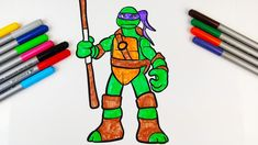 How to Colour Donatello Ninja Turtles Drawing   TMNT Ninja Turtle Drawing, Ninja Turtles Cartoon, Play Doh, Coloring For Kids, Tmnt, Cartoon Characters, Kids Toys, Eggs, Colour