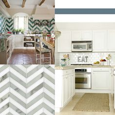 Love the white cabinets, sparkly white subway tiles and light floors.
