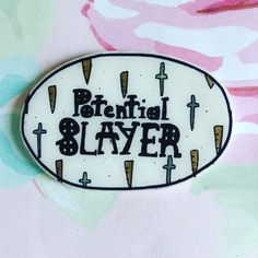 Buffy, Buffy the vampire slayer, Potential Slayer, cross, stake, black, brown, white, Holographic glitter, sassy, tumblr, 90's jewelry,