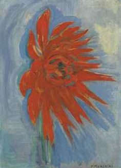 """Red Chrysanthemum on Blue Background"" in 1909-10 by Piet Mondrian"
