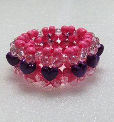Kandi 3D Beaded Stretchy Cuff Bracelet In Pink by TheBeadedDiamond, $5.00
