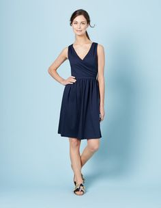 Navy Pretty Ruched Wrap Dress Boden