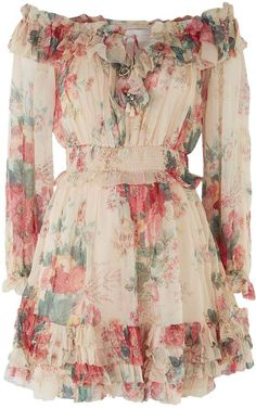 Harrods, designer clothing, luxury gifts and fashion accessories : Zimmermann Laelia Floral Mini Dress Dress Outfits, Casual Dresses, Short Dresses, Fashion Dresses, Summer Dresses, Dress Long, Floral Outfits, Fashion Tights, Fall Dresses