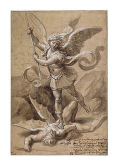Giclee Print: Poster of Raffaello Sanzio by Raffaello Sanzio : Vs Angels, Angels And Demons, Catholic Art, Religious Art, Michael Angel, Demon Tattoo, Religious Tattoos, Ange Demon, Mont Saint Michel