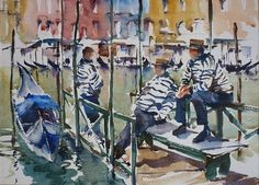 Artwork by Trevor Lingard. Venice scene.