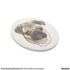 Cute Pug Dog Portrait Sandstone Coaster