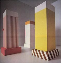 Ettore Sottsass designed a series of cupboards (1966). Sottsass was a young designer, who was then at the start of his career. These cupboards are made of plywood. They're paradoxical: they look like strange, inscrutable monoliths, like obelisks, but they're covered with deliberately tacky plastic laminates. The decorative surface seems to undermine the stern form. This challenges the pomposity of Modernist design.