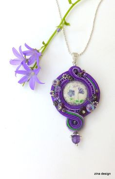 Purple Soutache Necklace Mother Necklace by ZinaDesignJewelry