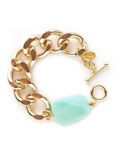 Chunky Gold Bracelet with Amazonite