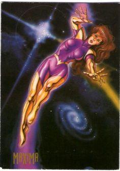 """65-Máxima  Máxima originalmente vino a la Tierra para """"hacer que Superman, su hombre"""". Sin embargo, cuando este rechazó sus sentimientos, ella aprendió a ser humilde. Al regresar a la Tierra después de ayudar a los héroes en una guerra contra Brainiac, la reina guerrera de Almerac usa ahora sus poderes Psionicos como miembro de la Liga de la Justicia de América."""