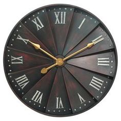 "Featuring overlapping paneling and a Roman numeral dial, this weathered metal wall clock brings stately style to your entryway or living room decor.   Product: Wall clockConstruction Material: MetalColor: Weathered brownFeatures:Slatted designDimensions: 30"" Diameter x 3"" D"
