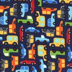 Cars Traffic Navy - Cotton