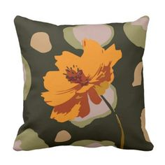 Orange and Charcoal graphic design Throw Pillow - floral style flower flowers stylish diy personalize