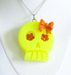 Neon Yellow Skull Necklace by softbluecries on Etsy, $12.00