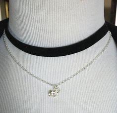 Double layered choker Necklace ,two layered  choker , Sterling silver  chain , suede , choker   doble gamuza plata 925 , elephant charm de Silverandme en Etsy