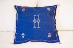 Royal Blue and Pink Moroccan Cactus Silk (Sabra) Pillowcase