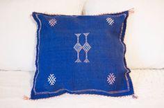 Royal Blue and Pink Moroccan Cactus Silk (Sabra) Pillowcase
