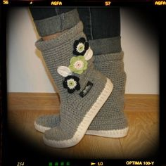 Crochet boots Uki-Crafts- black stripes-Crochet Boots for the Street Boots lace black&white spring summer pattern Spring Boots, Spring And Fall, Womens Fall Boots, Boots Women, Crochet Boots, White Springs, Shoe Pattern, Summer Patterns, Black Laces