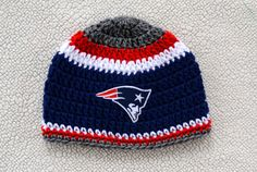 New England Patriots inspired crochet hat by AppleBabiesBoutique