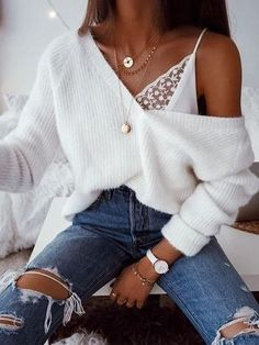 Outfits # Pullover-Outfits übergroße Pullover - Mode-Ideen The History of Canadian Diamonds It is sa Teenage Outfits, College Outfits, Outfits For Teens, Cute Outfits For Girls, Cute Highschool Outfits, White Girl Outfits, Graduation Outfits, Cute Outfits For School, College Graduation