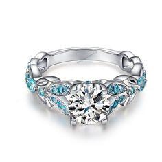 Fresh Butterfly Shape Brilliant Cut CZ & Aquamarine 925 Silver Women's Ring…