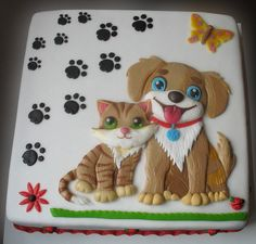 Kitten and puppy - Cake by Alena