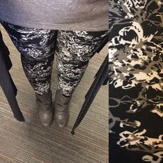 LuLaRoe black, grey and white floral leggings with grey Irma and black ribbed Joy.